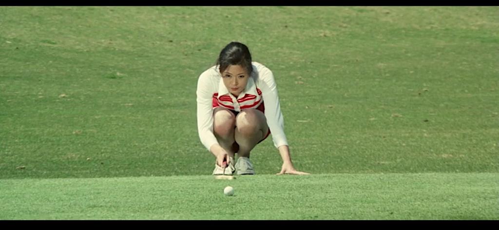 Yoko Shiraki lines up a shot